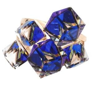 Square candy crystal rose gold blue ring